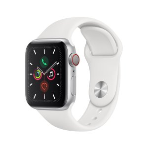 AppleWatch Series 5 (GPS + Cellular) 40mm Silver Aluminum Case w/ White Sport Band