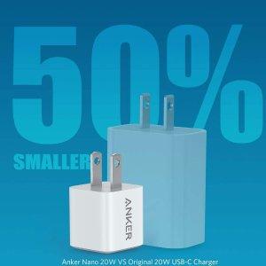 $21.99(原价$30.99)Anker USB C 充电器 20W功率 可为手机 电脑的快速充电