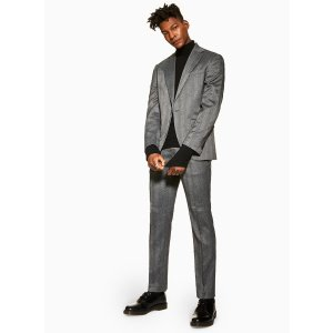Topman2 Piece Grey Herringbone Slim Fit Suit With Notch Lapels