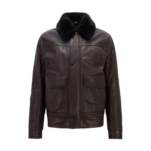 BOSSBOSS - Slim-fit aviator jacket in milled leather with shearling collar