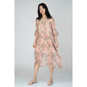 真丝肉粉色印花裙