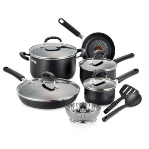 T-Fal OptiCook Non-Stick 12-Piece Aluminum Cookware Set in Black