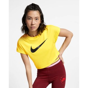 Nike黄色大勾T恤