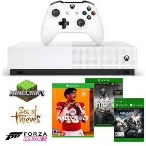 $229.99 (原价$329.99)Xbox One S 无光驱版 + 6款数字版游戏 + 2个月金会员