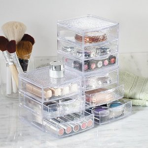 $7.99InterDesign Rain Vanity Cosmetic Makeup Jewelry 3 Drawer Box, Clear