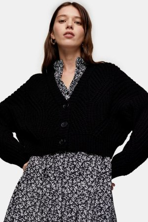 CONSIDERED Black Crop Knitted Cardigan With Recycled Polyester | Topshop
