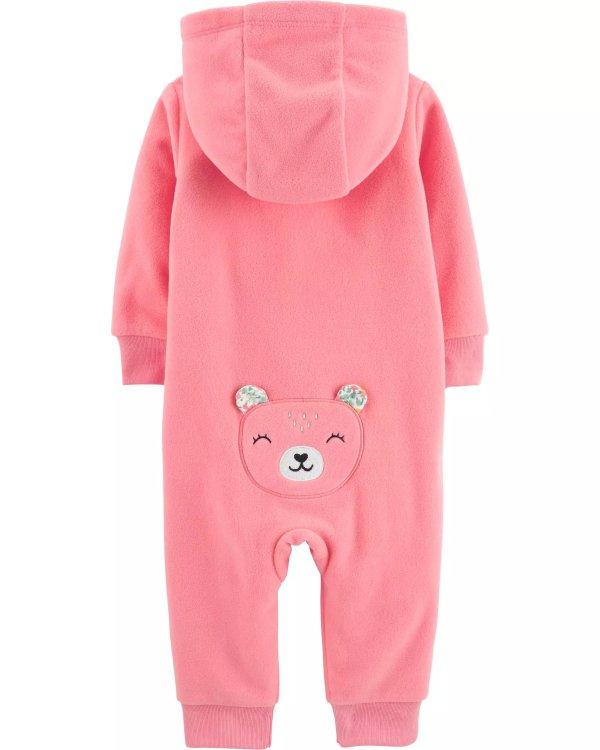 女婴小熊抓绒连帽连体衣