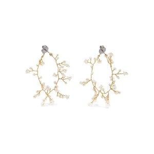 14 / Quatorze  Baby's Breath gold-plated pearl hoop earrings