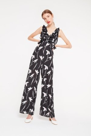 Elli White Floral Jumpsuit With Ruffle Detailing