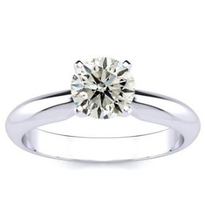 SuperJeweler1ct Round Diamond Solitaire Ring in 14k White Gold, I, I2/I3