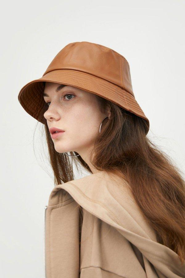 Leather Camel 渔夫帽
