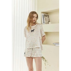 Confetti Kitty Printed Silk-Satin T-shirt and Shorts Set