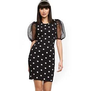 New York & CompanyBlack Organza-Sleeve Sheath Dress - Magic Crepe® - New York & Company