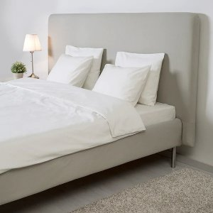 IkeaTOMREFJORD Bed frame, beige, Luroy, Queen - IKEA