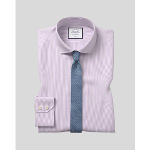 Charles TyrwhittSpread Collar Non-Iron 4 Way Stretch Stripe Shirt- Lilac