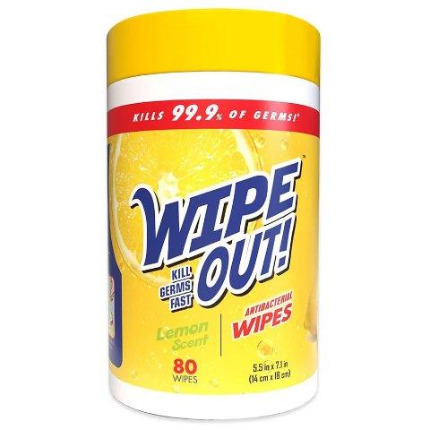 Wipe Out Antibacterial Wipes Lemon Scent 80 ea