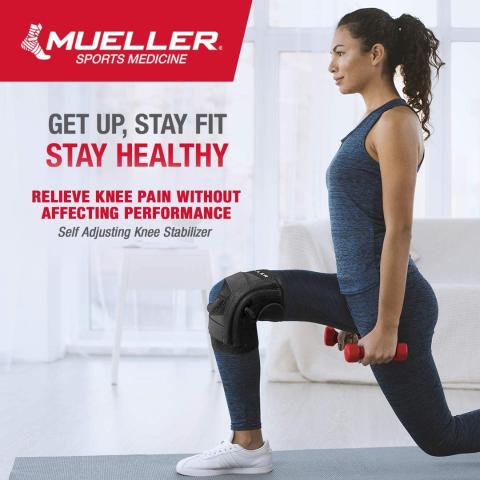 Mueller Self Adjusting Knee Stabilizer, Black, One Size Fits Most
