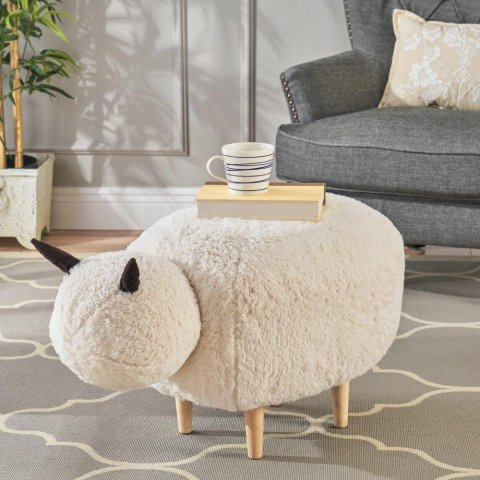 Pearcy White Furry Sheep Ottoman Bench-299781 - The Home Depot