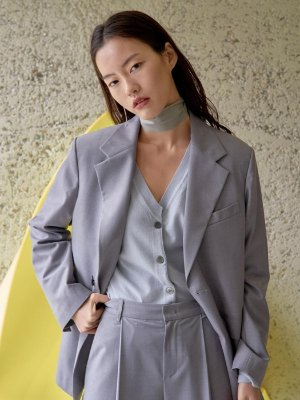 Tailored Single Jacket Light Gray  | W Concept