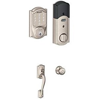 $179Schlage Connect Camelot Touchscreen Deadbolt with Built-In Alarm and Handleset Grip with Accent Lever, Satin Nickel, FE469NX ACC 619 CAM LH, Works with Alexa @ Amazon