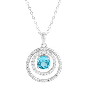 Natural White & Blue Topaz Ringed Floater Pendant in Sterling Silver | White & Blue Topaz Ringed Floater Pendant | Jewelry.com