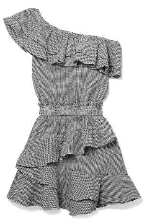 Lacey gingham cotton-blend seersucker mini dress
