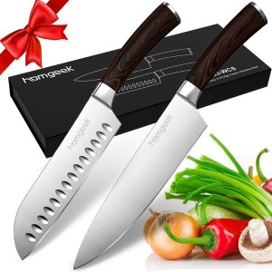 $19.59(原价$27.99)独家:Homgeek 8寸木柄主厨刀+7寸三德刀2件套,美亚4.5星推荐