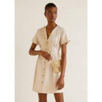 Mango 亚麻混纺女式短袖褶皱连衣裙