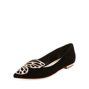 绒面蝴蝶平底鞋