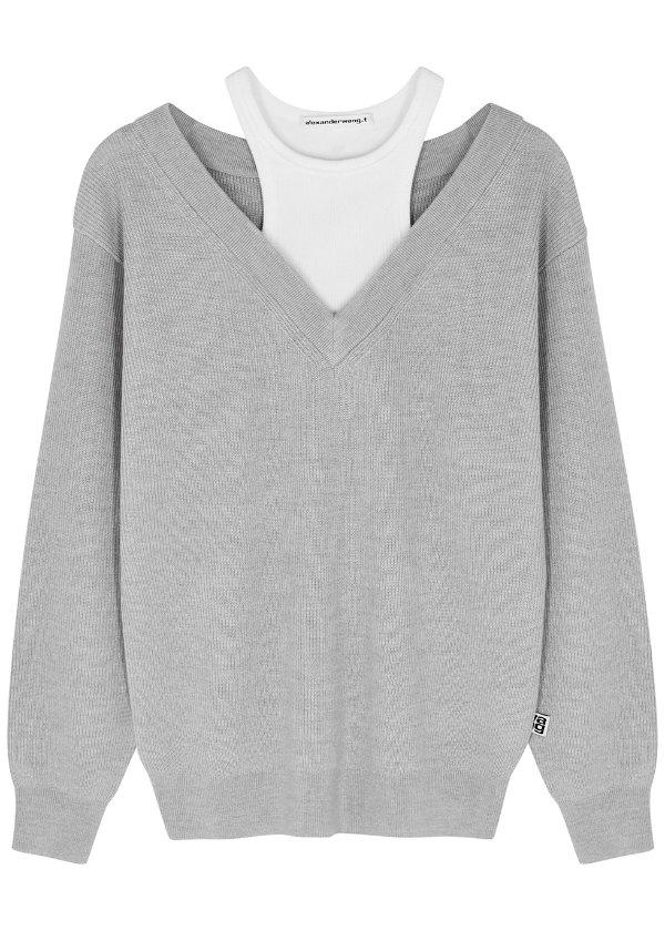 layered 羊毛毛衣
