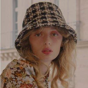 低至5折 €60收韩范渔夫帽W Concept 韩风帽子专场大促 收小香风渔夫帽、报童帽等