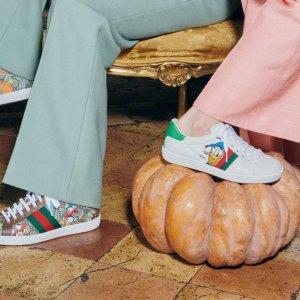9折 €531收联名款小白鞋Gucci 全场大促 好价入 Disney 联名款小白鞋 断码飞快