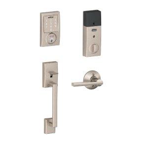SchlageCentury Satin Nickel Sense Smart Door Lock with Latitude Lever Door Handleset-BE479AA V CEN 619 + FE285 CEN 619 LAT - The Home Depot