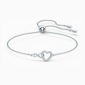 SwarovskiInfinity Heart Bracelet, White, Rhodium plated by SWAROVSKI