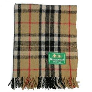 BORDERTweeds 驼色汤姆森格子羊绒毯