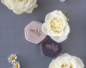 Velvet Wedding Ring Box with Monogram option | Etsy