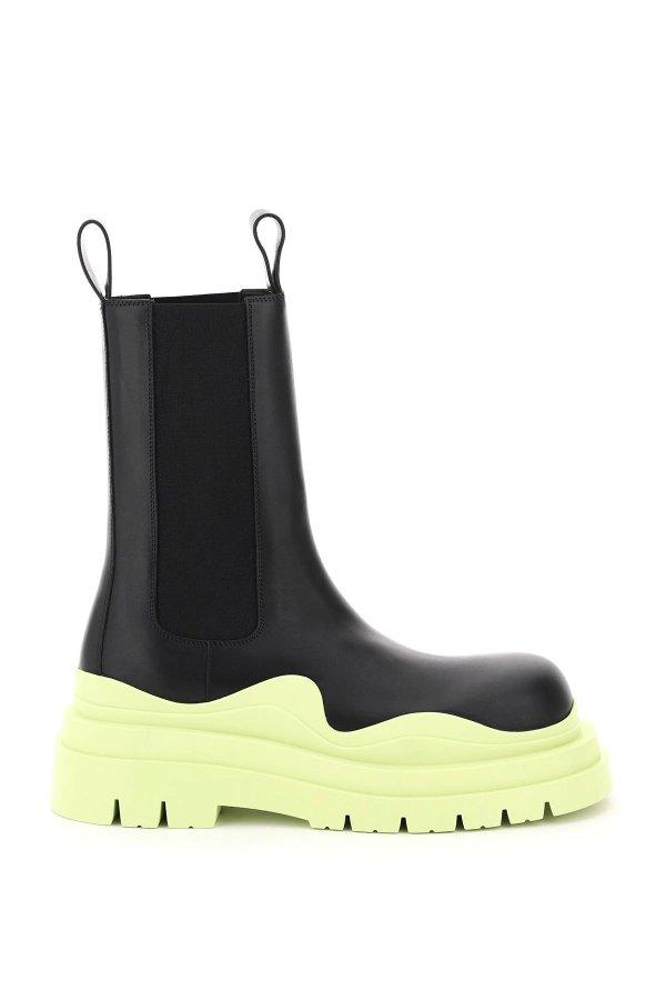 薄荷黄厚底靴