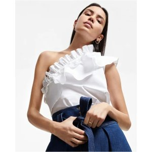 7 For All MankindOne Shoulder Ruffle Top in Optic White