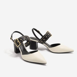 Charles & KeithChalk Studded Pointed Slingbacks | CHARLES & KEITH US