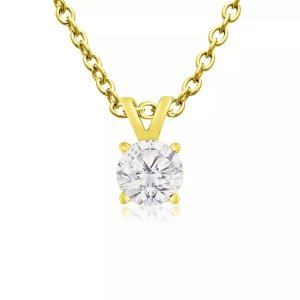 SuperJeweler1/4ct Diamond Pendant in 14k Yellow Gold