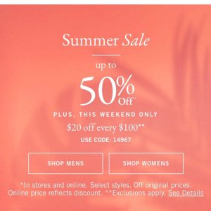 $20 Off Every $100 + GWPUp To 50% Off Summer Sale @ Abercrombie & Fitch