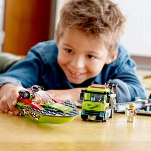 $24.99(原价$39.99)LEGO 城市系列 赛艇运输车 60254(共238粒)