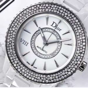Extra $1000 OffDIOR VIII White Mother of Pearl Dial Ceramic Ladies Watch