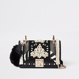 River IslandRI 30 black pearl embellished cross body bag - Cross Body Bags - Bags & Purses - women
