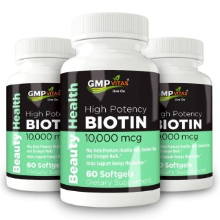 $12.17GMP Vitas Biotin 10,000mcg, 60 Softgels, Supports Healthy Hair, Skin, and Nails