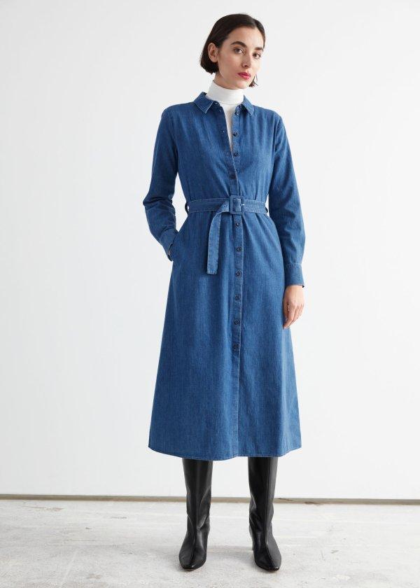 Belted 牛仔连衣裙