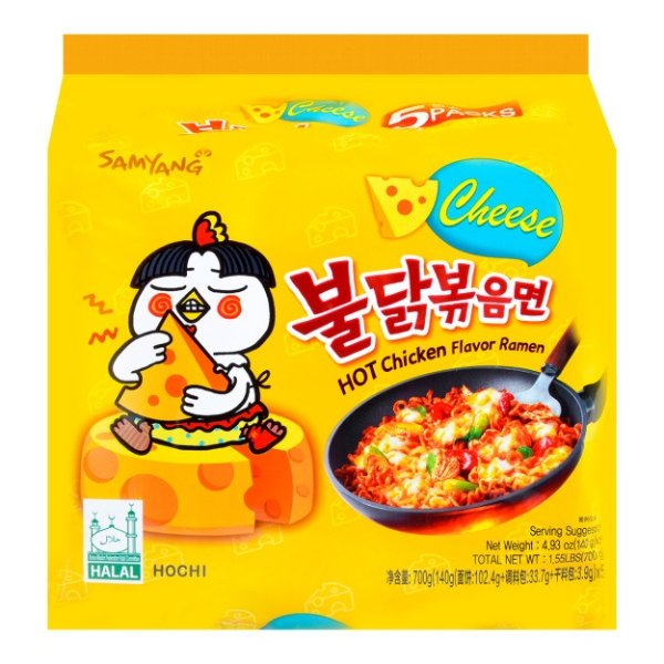 SAMYANG三养 超辣鸡肉味拌面 乳酪味 5包入 700g