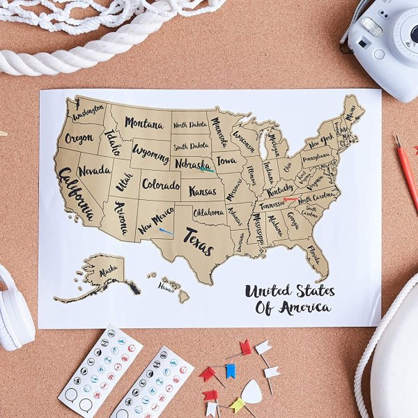 Basics Scratch Off Poster of The United States Map with Scratcher and Tracking Accessories 43 x 30 cm