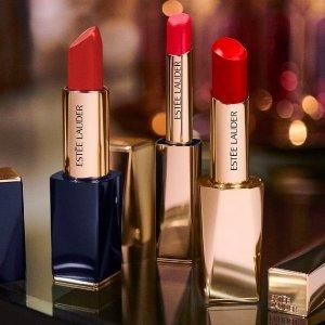 送美妆3件套Etsee Lauder 甜酷女孩必备小细跟 经典枫叶红加倍水润