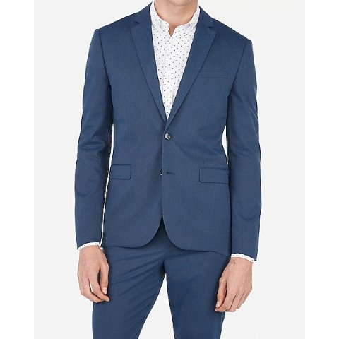 Slim Medium Blue Stripe Cotton Blend Stretch Suit Jacket